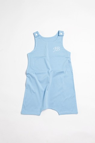 Personalised Blue Short Leg Romper Suit by Forever Sewing