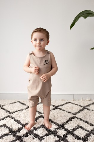 Personalised Tan Short Leg Romper Suit by Forever Sewing