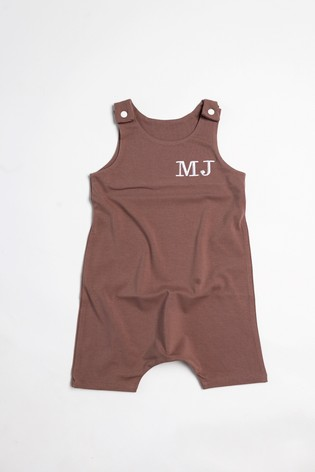 Personalised Brown Short Leg Romper Suit by Forever Sewing