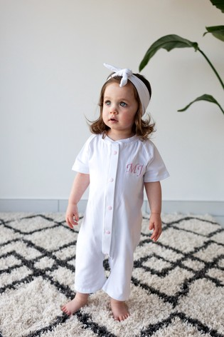 Personalised White Shortie All in One by Forever Sewing