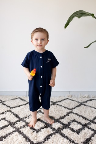 Personalised Navy Shortie All in One by Forever Sewing