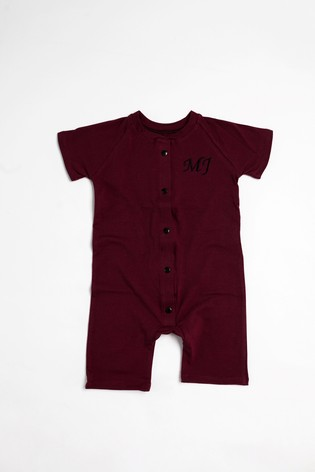 Personalised Burgundy Shortie All in One by Forever Sewing