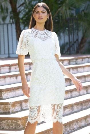 Lipsy White VIP Lace Puff Sleeve Midi Dress
