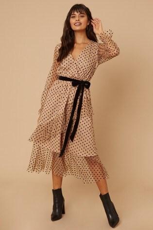 Little Mistress Nude Wren Spot Mesh Long Sleeve Midi Dress