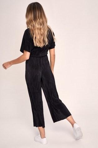 Lipsy Black Plisse Culotte Jumpsuit