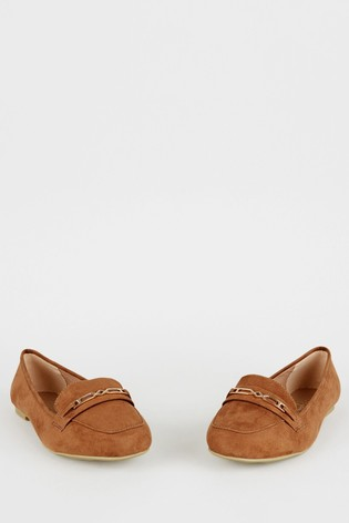 New Look Wide Fit Tan Geometric Bar Loafers