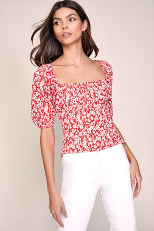 Lipsy Red Square Neck Puff Sleeve Top