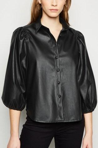 New Look Blouson Sleeve PU Shirt