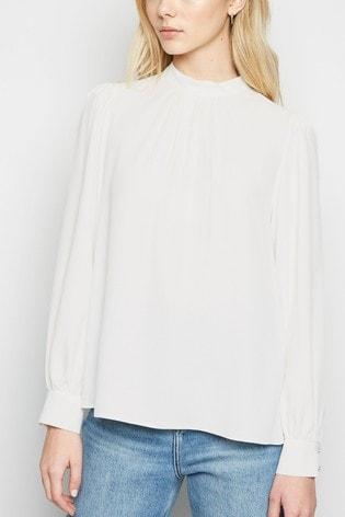 New Look White Plain High Neck Long Sleeve Blouse