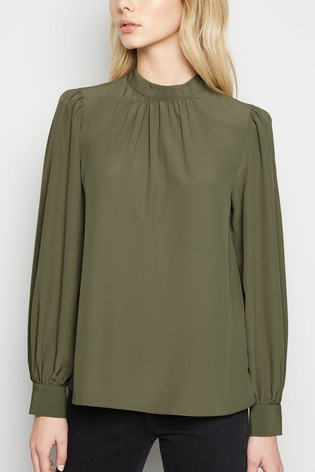 New Look Green Plain High Neck Long Sleeve Blouse