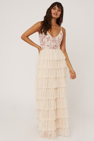 Little Mistress Nude Fleur Floral Sequin Tiered Hem Maxi Dress