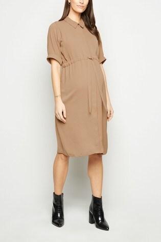 New Look Camel Maternity Drawstring Waist Dress