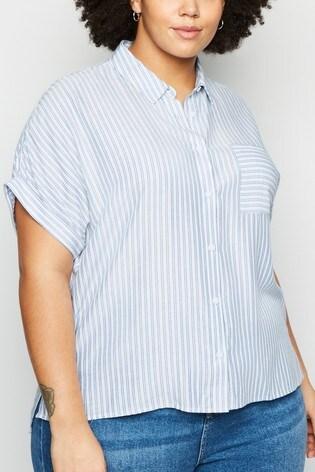 New Look Curve Stripe Pocket Short Sleeve Shirt
