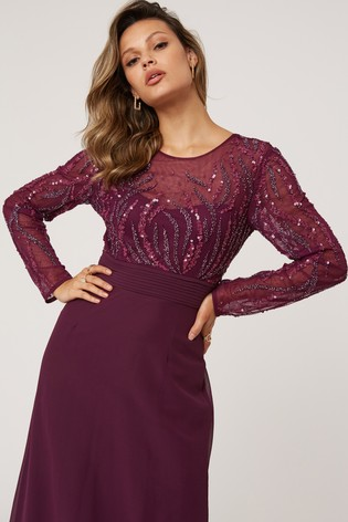 Little Mistress Purple Georgie Hand Embellished Maxi Dress