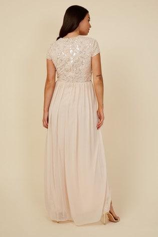 Little Mistress Nude Bridesmaid Elise Hand Embellished Sequin Hi Low Prom Dress