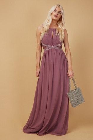 Little Mistress Purple Bridesmaid Lauren Mauve Lace Insert Maxi Dress With Keyhole
