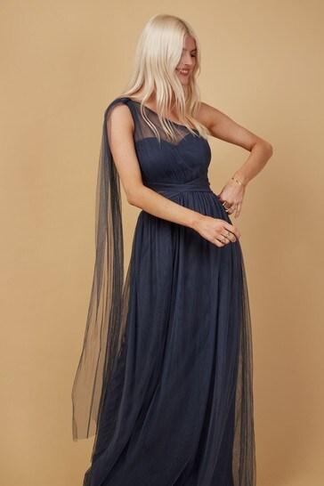 Little Mistress Grey Bridesmaid Karter Bow Detail One-Shoulder Maxi Dress