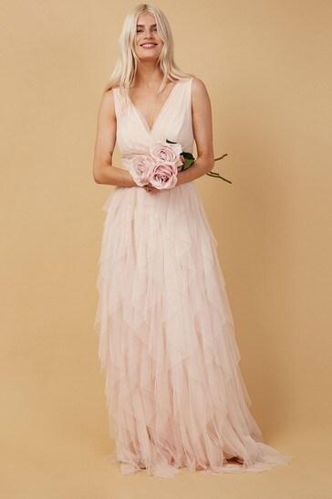 Little Mistress Nude Bridesmaid Leonora Nude Ruffle Mesh Maxi Dress