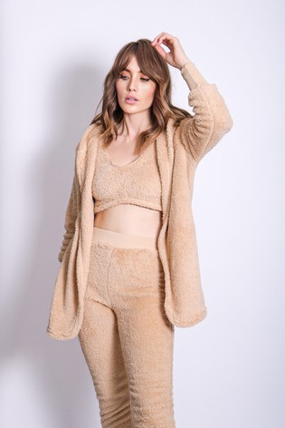 Girls On Film Brown Fluffy 3 Piece Lounge Co Ord Set