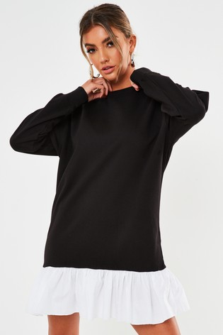 Missguided Frill Hem Sweater Dress Poplin
