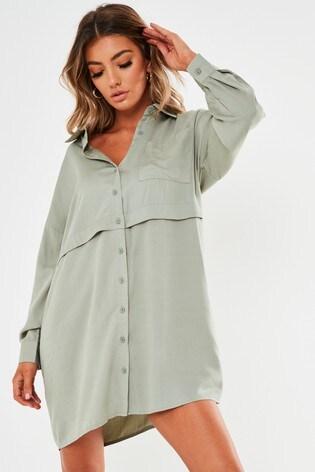 Missguided Green Utility Shirt Dress