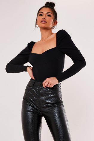 Missguided Sweetheart Neck Puff Sleeve Bodysuit