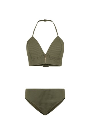 New Look Girls Ribbed Zip Bikini Set