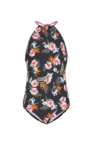 New Look Girls Black Floral Swimsuit