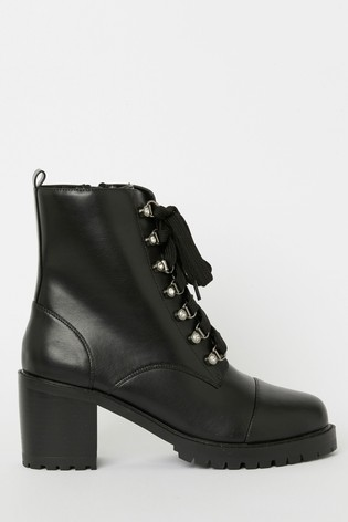 Lipsy Black Heeled Biker Boot