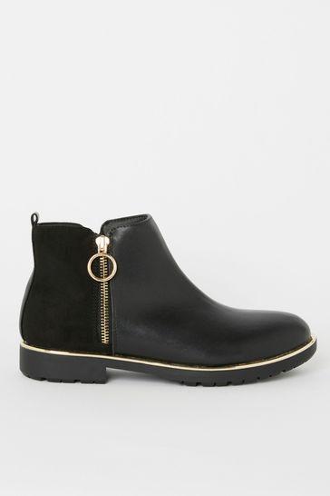 Lipsy Girl Black Zip Flat Ankle Boot