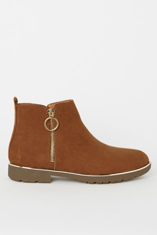Lipsy Girl Brown Zip Flat Ankle Boot