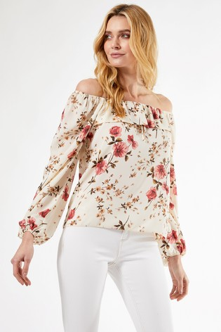 Dorothy Perkins Floral Frill Front Long Sleeve Top