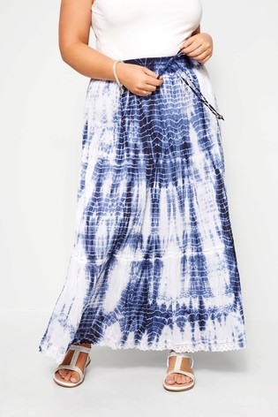Yours Clothing Tie Dye Crinkle Cotton Maxi Skirt