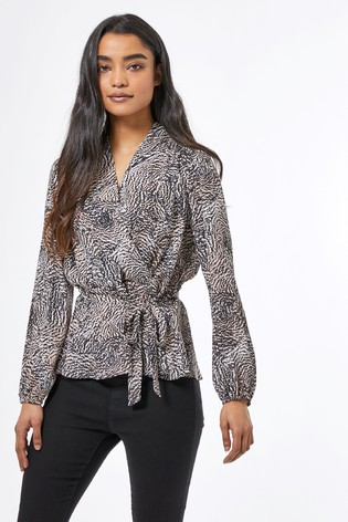 Dorothy Perkins Petite Abstract Wrap Top