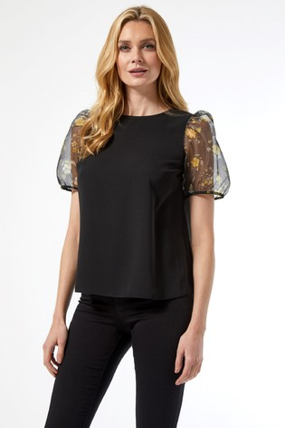 Dorothy Perkins Organza Puff Floral Short Sleeve Top