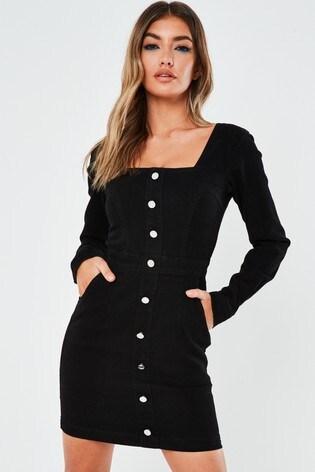 Missguided Long Sleeve Square Neck Denim Dress