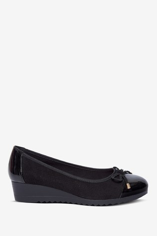 Dorothy Perkins Bow Trim Wedge Ballerina Pumps