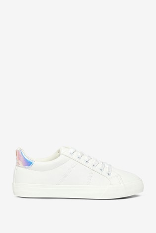 Dorothy Perkins White and Metallic Tab Back Trainer