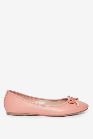 Dorothy Perkins Coral Bow Trim Ballerina Pump