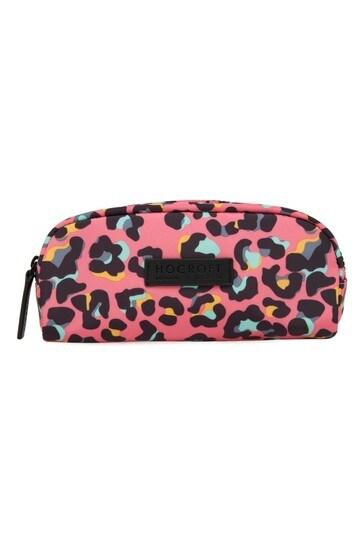 Hocroft London Sophia Small Makeup Bag Pink Leopard