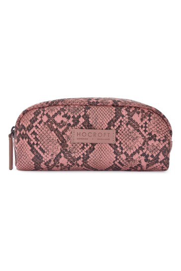 Hocroft London Sophia Small Makeup Bag Pink Snakeskin
