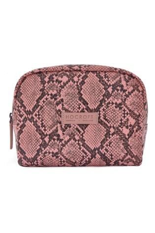 Hocroft London Daphne Medium Makeup Bag Pink Snakeskin