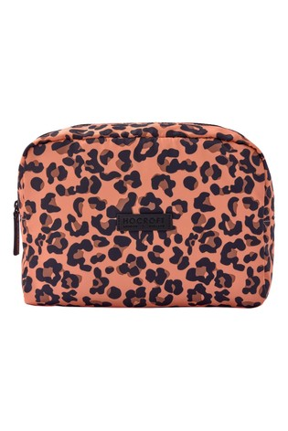 Hocroft London Tallulah Large Wash Bag Camel Leopard