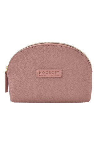Hocroft London Roxanne Small Makeup Bag Pink Fullgrain