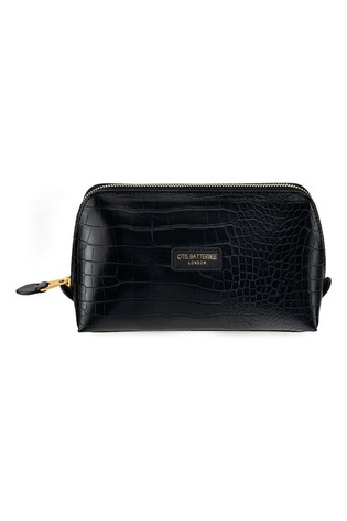 Otis Batterbee Large Downshire Makeup Bag Black Croc