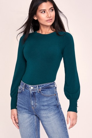Lipsy Green Knitted Crew Neck Jumper