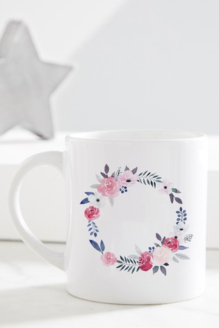 Personalised Floral Wreath Grandma Mug by Gift Collective