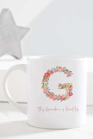 Personalised Floral Letter Grandma Mug by Gift Collective