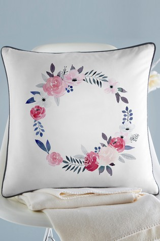 Personalised Floral Wreath Cushion by Gift Collective