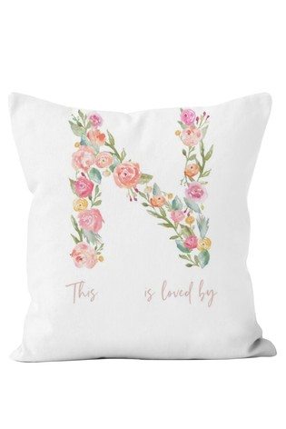 Personalised Floral Letter Nanna Cushion by Gift Collective